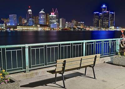 Park Benches Photograph - Windsor View Of Detroit by Frozen in Time Fine Art Photography