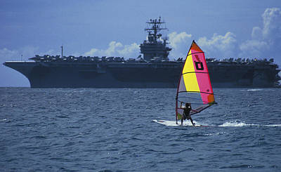 Windsurfer And Aircraft Carrier Art Print by Carl Purcell