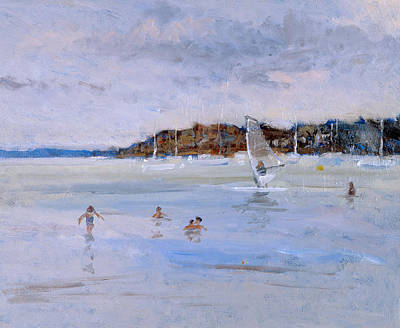 Windsurfing Painting - Windsurfer And Bathers by Christopher Glanville