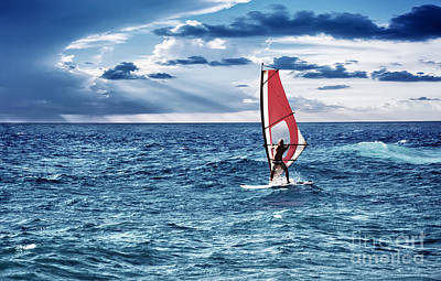 Photograph - Windsurfer In The Sea by Anna Om