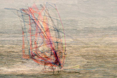 Windsurfers Art Print by Denis Bouchard