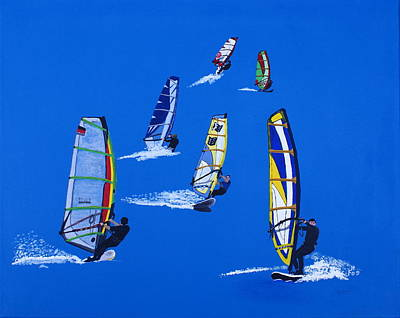 Painting - Windsurfers by Frank Hamilton