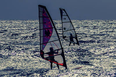 Windsurfers Art Print by Stelios Kleanthous