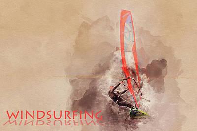Windsurfer Mixed Media - Windsurfing by Art By Jeronimo