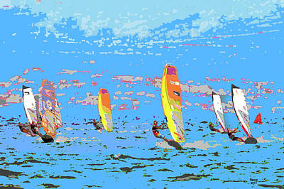 Mixed Media - Windsurfing by Charles Shoup