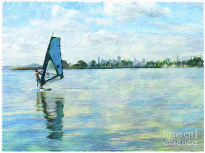 Mixed Media - Windsurfing In The Bay by Linda Weinstock