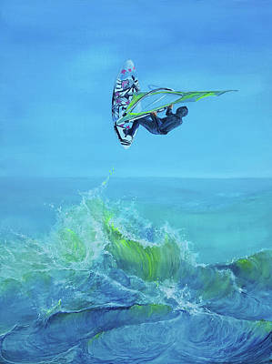 Wall Art - Painting - Windsurfing by Penny Golledge