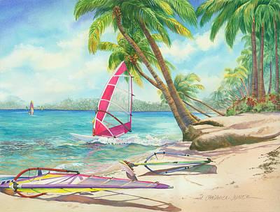 Windsurfing The Tropics Art Print by Marguerite Chadwick-Juner