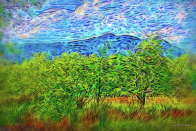 Digital Art - Windswept Mountain Trees by Joel Bruce Wallach