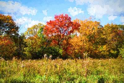Windy Autumn Day In New England Art Print