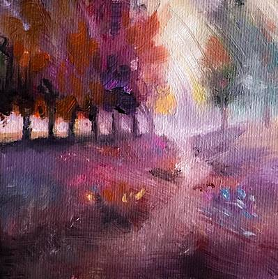 Painting - Windy Autumn Landscape by Michele Carter