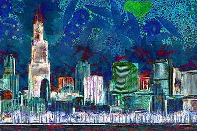 Photograph - Windy Chicago Illinois Skyline Party Nights 20180516 V3 by Wingsdomain Art and Photography