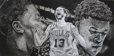 Derrick Rose Drawing - Windy City Assassins by Brian Sanford