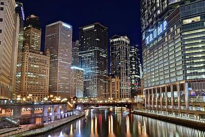 Windy City Lights On The River Art Print