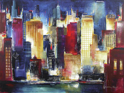 Sunset Abstract Painting - Windy City Nights by Kathleen Patrick