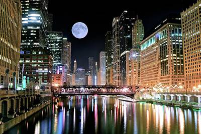 Chicago Skyline Photograph - Windy City River Moon by Frozen in Time Fine Art Photography