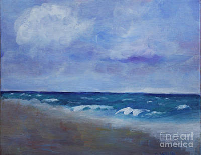 Plein Air Painting - Windy Day At Atlantic Dunes Beach by Donna Walsh