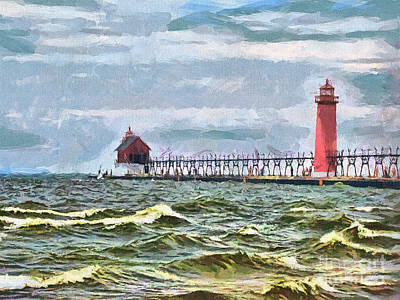 Windy Day At Grand Haven Lighthouse Art Print