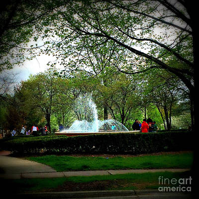 Frank J Casella Royalty-Free and Rights-Managed Images - Windy Day at Irwin Fountain by Frank J Casella