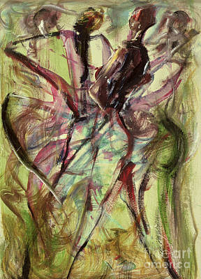 African Dancers Painting - Windy Day by Ikahl Beckford