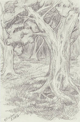 Drawing - Windy Forest Path by Ruth Renshaw