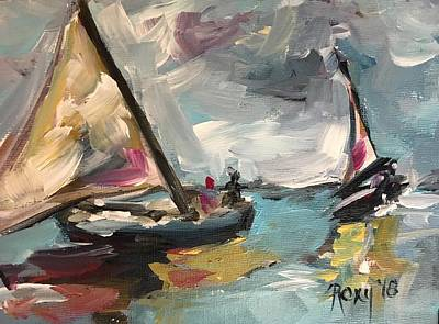 Transportation Painting - Windy Sails by Roxy Rich