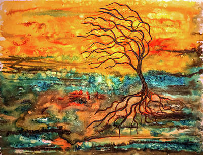 Mixed Media - Windy Tree by Lilia D