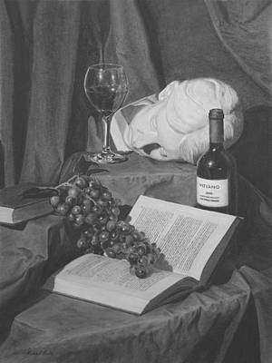 Still Life Drawings - Wine and a Book by Michael Malta