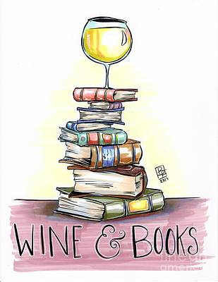 Red Wine Drawing - Wine And Books by Billi French