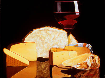 Painting - Wine And Cheese by JoeRay Kelley