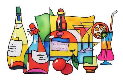 Wine And Cocktail Art Print by Tatiana  Antsiferova