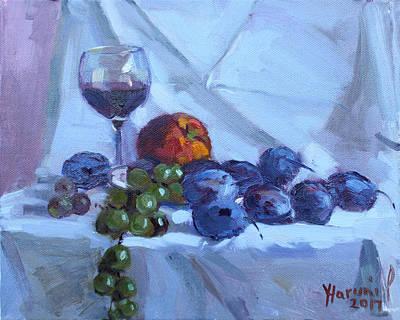 Plum Painting - Wine And Fresh Fruits by Ylli Haruni