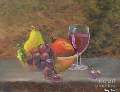 Painting - Wine And Fruit by Mary Scott