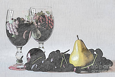 Hand Painted Wine Glass Photograph - Wine And Fruit by Sherry Hallemeier