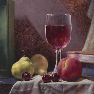 Classical Realism Painting - Wine And Fruit by Timothy Jones