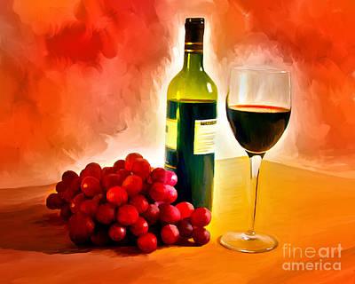Painting - Wine And Grapes by Ata Alishahi