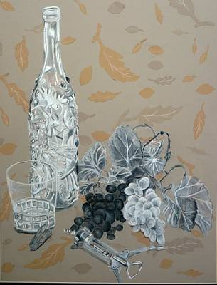 Wine And Grapes Art Print by Nicholas Nguyen