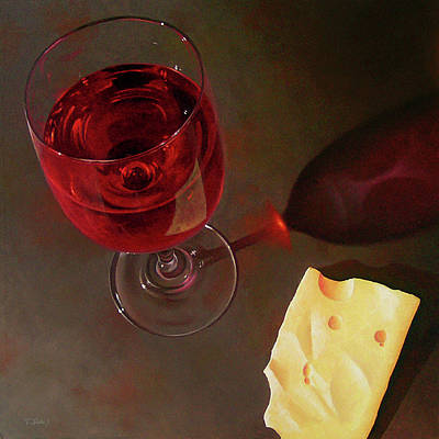 Wine-glass Painting - Wine And Jarlsberg by Timothy Jones