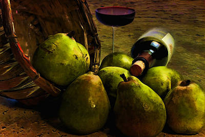 Art Print featuring the photograph Wine And Pears by Gary Smith