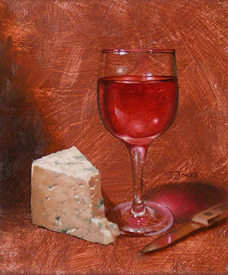 Glass Table Reflection Painting - Wine And Stilton by Timothy Jones