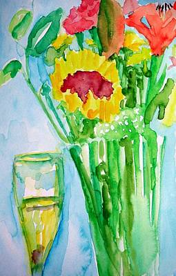 Painting - Wine And Sunflowers by Rachel Rose