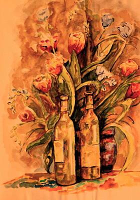 Wine And Tulips Art Print by Dan Earle