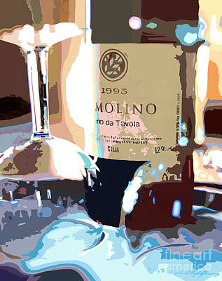 Bottle Painting - Wine And Two Glasses by David Lloyd Glover