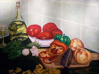 Wine And Veggies Art Print