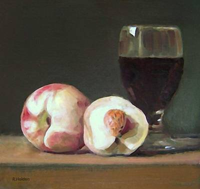 Painting - Wine And White Peaches by Robert Holden