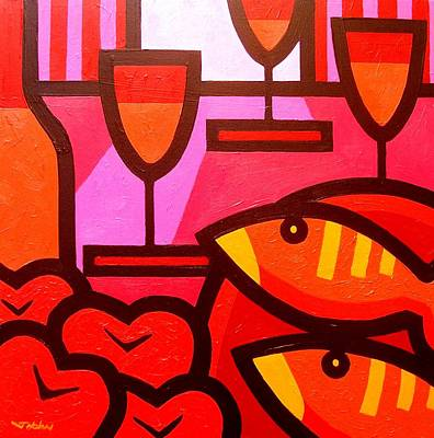 Bottle Painting - Wine Apples Fish by John  Nolan