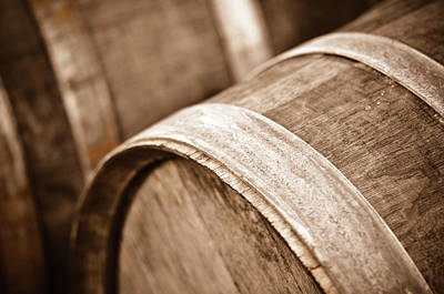 Photograph - Wine Barrel In Cellar by Brandon Bourdages