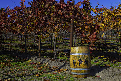 Hand Carved Photograph - Wine Barrel In Vienyard by Garry Gay