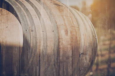 Wine Cellar Photograph - Wine Barrel Outside In Retro Instagram Style by Brandon Bourdages