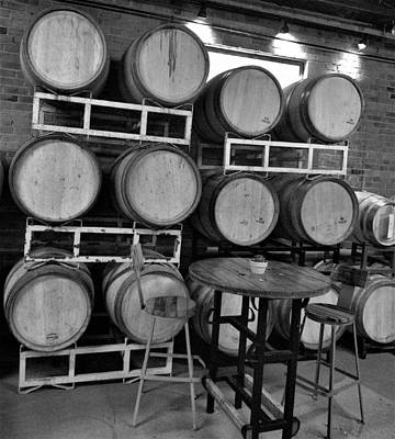 Photograph - Wine Barrels 2 Bw by Charles HALL